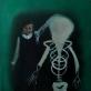 """""""Mergaitė ir griaučiai"""", 60×80, drobė, aliejus, purškiami dažai, 2018"""