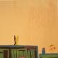 """Svajojau nakčia. Iš ciklo """"Vėl"""". 2012. Medžio raižinys, aliejus, drobė, 75 x 140 cm"""