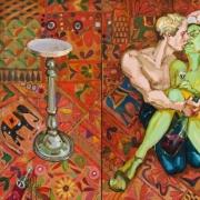 """Evaldas Jansas. """"Varlė karalienė. Jaunas menininkas bučiuoja menotyrininkę"""" (2014). V.Ilčiuko nuotr."""