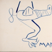 """Česlovas Lukenskas, """"Mankšta"""" (iš ciklo """"Dao-dao in blue""""), 1984, popierius, rašalas, 32,5 x 22 cm, Modernaus meno centro nuosavybė"""