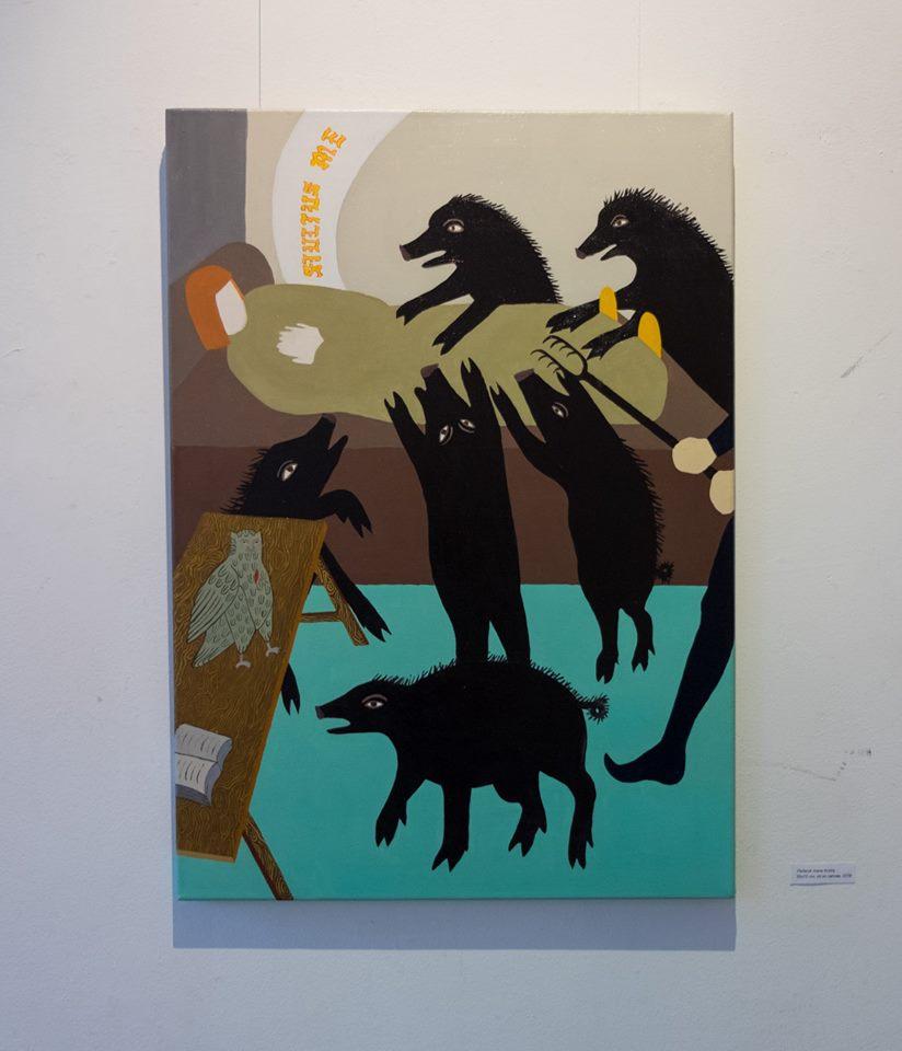 karikatūra trys juodos varnos