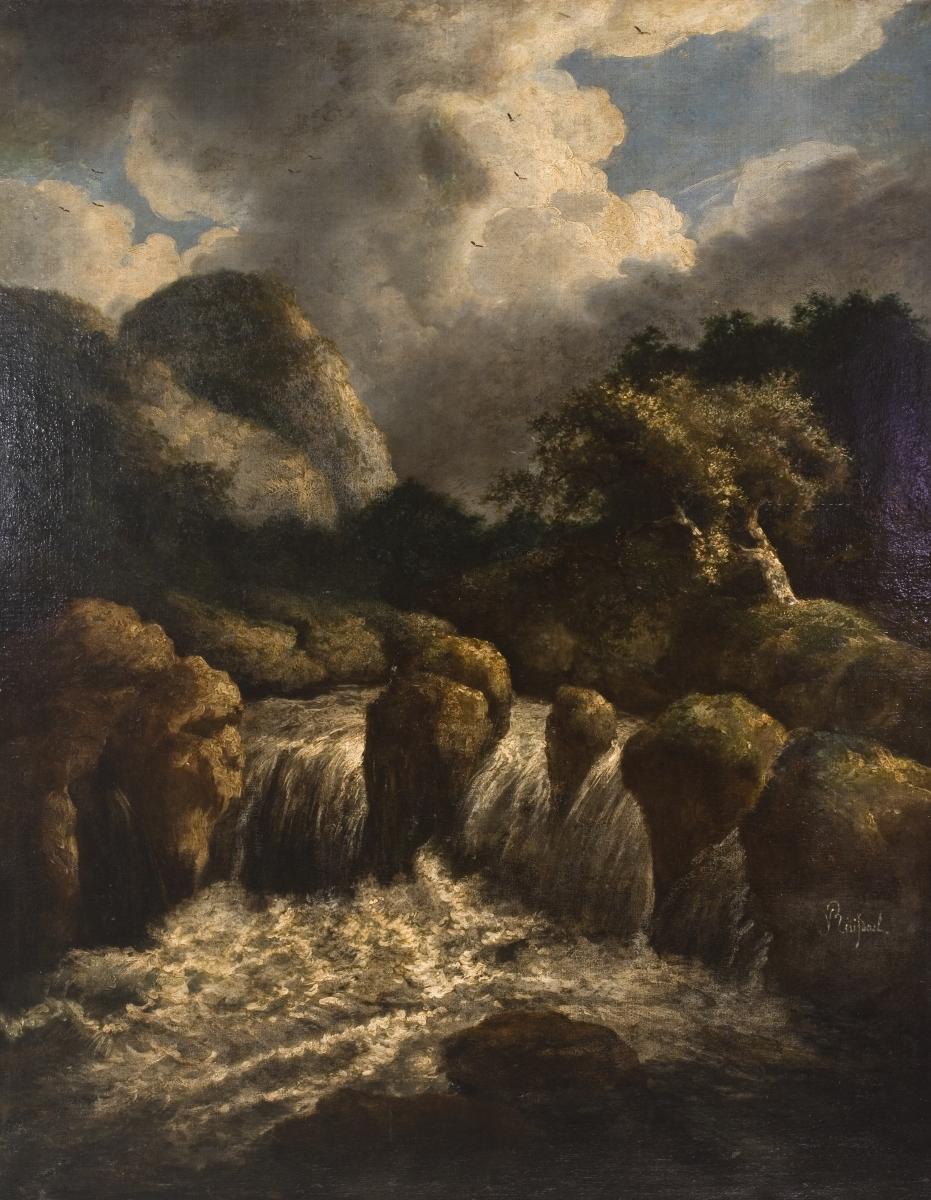 Nežinomas dailininkas pagal Jacob van Ruisdael (1628/1629–1682), Krioklys, drobė, aliejus, 115 × 91 cm, XIX a. (?), Lietuvos nacionalinis dailės muziejus.