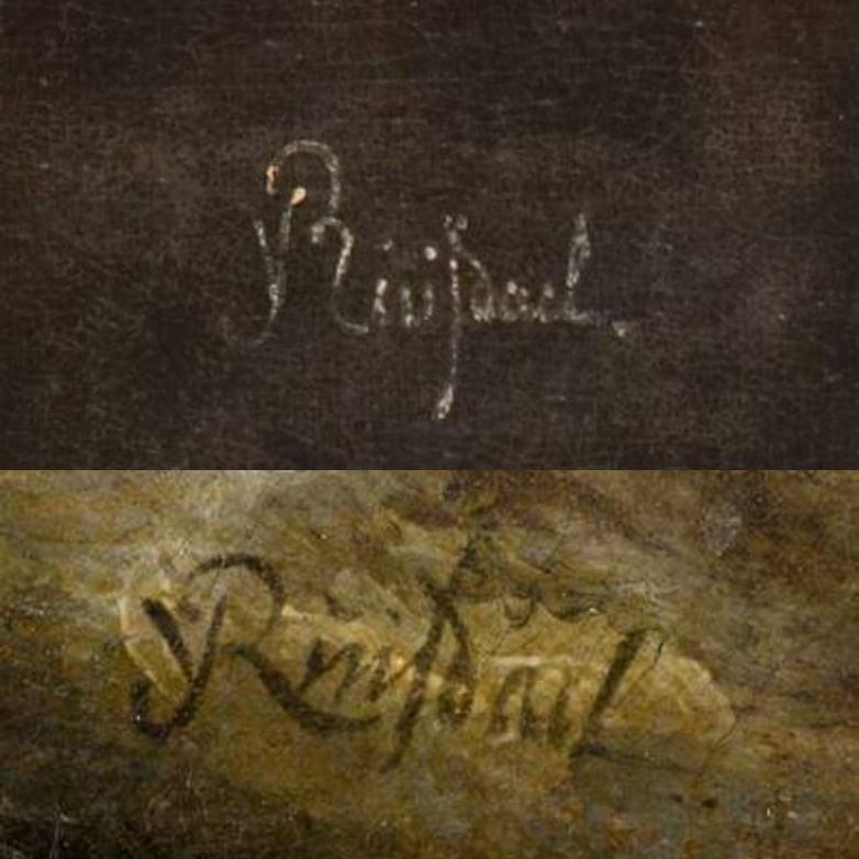 Sufalsifikuotas Van Ruisdaelio parašas LNDM Krioklyje ir dailininko signatūra, palikta Mauritshuis meno muziejuje Hagoje saugomame ~1670–1675 m. peizaže Harlemo vaizdas su audinių balintojais