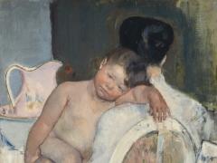 """Mary Cassat, """"Sėdinti moteris su vaiku"""". 1890 m."""