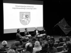 """Konferencijos """"Emancipacijos diskursai nepriklausomoje Lietuvoje 2018"""" pranešėjos. I. Armanavičiūtės nuotr."""