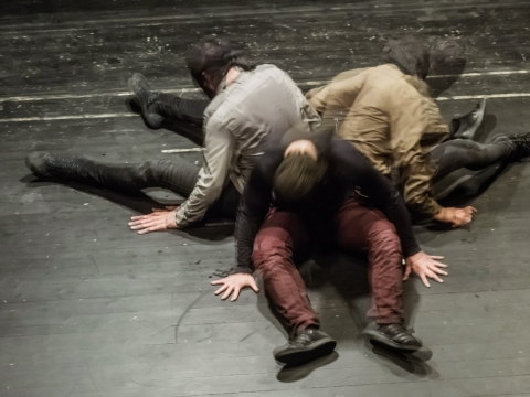 "Alvaro Esteban, Werner Nigg ir András Déri spektaklyje ""Impulsas"". D. Matvejevo nuotr."