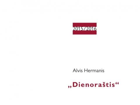"""Alvis Hermanis """"Dienoraštis"""". Knygos viršelis. Dailininkė Skaistė Ašmenavičiūtė."""