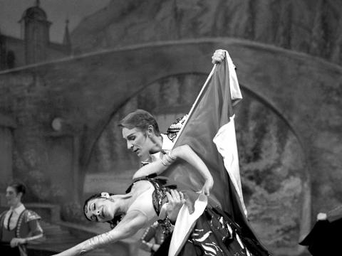 """Aušra Gineitytė ir Raimundas Maskaliūnas balete """"Don Kichotas"""". M. Raškovskio nuotr."""