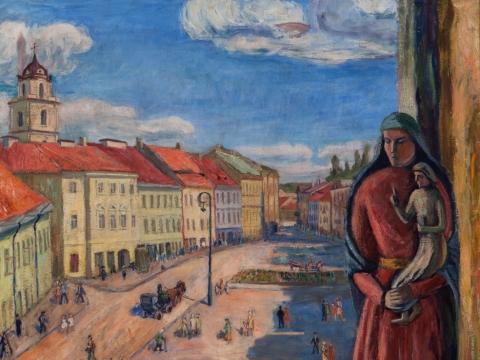 "Adolfas Valeška, ""Vaizdas pro Vilniaus rotušės langą su natiurmortu ant palangės"". 1942 m. ""Lewben Art Foundation"" ir Lietuvos išeivijos dailės fondo kolekcija"