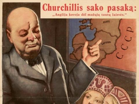 """Ostlando generalinėms sritims bendras plakatas """"Churchilis sako pasaką"""".1943 m. Nacionalinė Martyno Mažvydo biblioteka"""