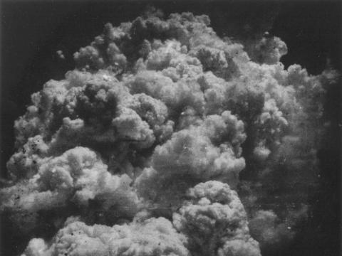 """Toshio Fukada, """"Branduolinio sprogimo grybas – mažiau nei dvidešimt minučių po sprogimo"""". 1945 m."""