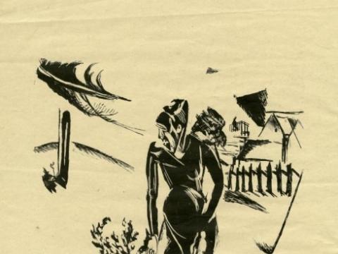Cornelia Gurlitt, be pavadinimo. Litografija. Dedikuota: Hansui. Signatūra: Eitl Vilnius'17. ©VVGŽM