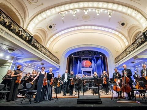 Lietuvos nacionalinis simfoninis orkestras, Sergejus Krylovas ir Vilmantas Kaliūnas. D. Matvejevo nuotr.