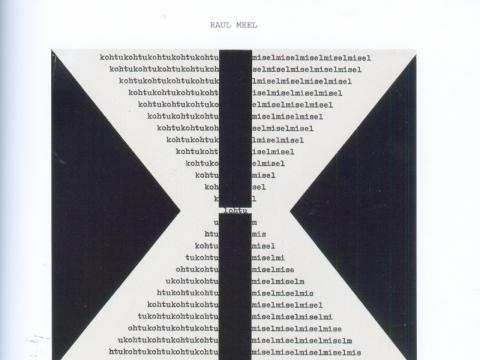 """Raul Meel, """"Posėdyje"""". Piešinys rašomąja mašinėle iš nepublikuotos konkrečiosios poezijos knygos """"Klubas"""" manuskripto. 1968–1969 m."""