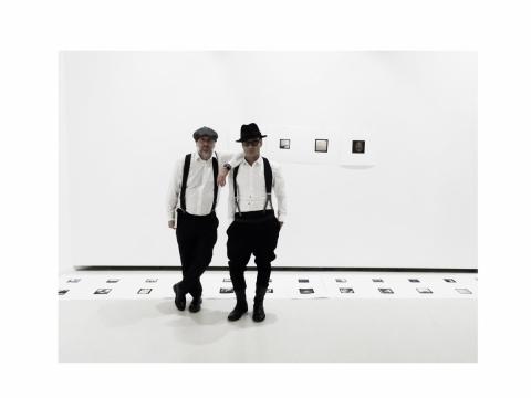 "Remigijus Treigys ir Benas Šarka parodoje ""#vidurnakt ir giliau"" KKKC parodų rūmuose. 2018 m. lapkričio 5 d."