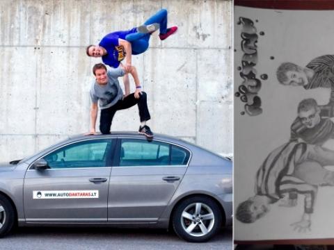"""Algirdas ir Remigijus Gataveckai, autentiškas freeze ant automobilio ir Alytaus vaikų globos namų gyventojų interpretacija. 2015 m. Nuotrauka iš """"Facebook"""""""
