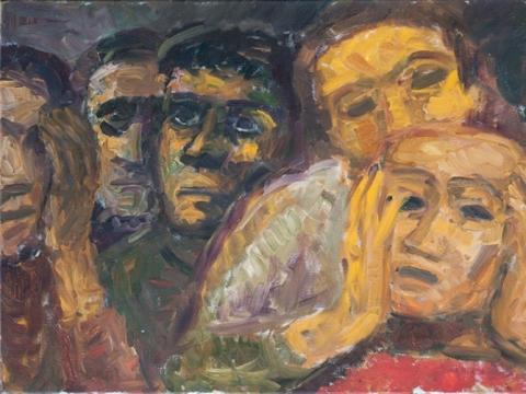 """Eglė Velaniškytė, """"Žmogus su kauke"""". 2016 m. Aliejus, drobė, 50 x 80 cm"""