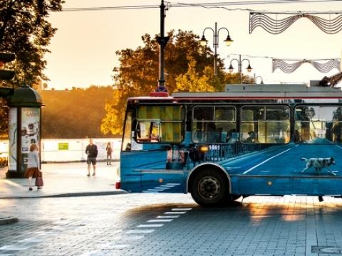 Liudo Parulskio išnykstantis troleibusas, fotomanipuliacija. 2016 m.