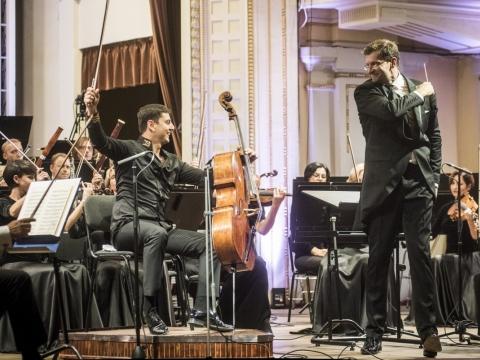 Narekas Hakhnazaryanas, Modestas Pitrėnas ir Lietuvos nacionalinis simfoninis orkestras. D. Matvejevo nuotr.