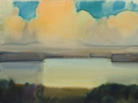 Ruduo. Debesys virš ežero. 1980 m.