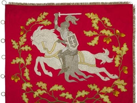 Akademinės  Fribūro universiteto lietuvių lietuvių draugijos vėliava. 1922 m. Aversas