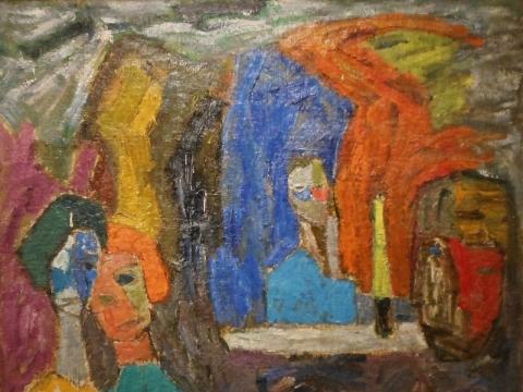 """Vincas Kisarauskas, """"Besiklausant Mikučio"""". 1963 m."""