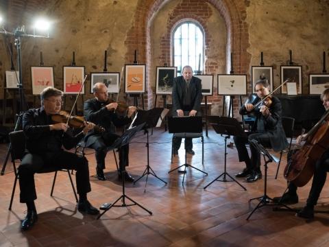 Čiurlionio kvartetas ir Algirdas Klova. D. Klovienės nuotr.
