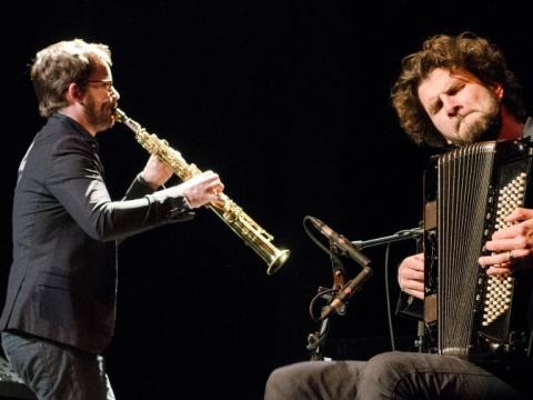 Vincent Peirani (akordeonas) ir Emile Parisen (saksofonas). D. Klovienės nuotr.
