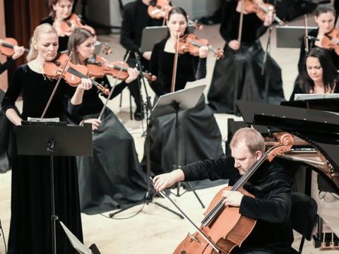 """FortVio"" ir Klaipėdos kamerinis orkestras. D. Bielkausko nuotr."