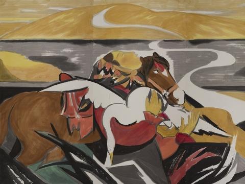 Liu Jude. Kalnų kelias. Popierius, tušas, spalvinimas. 2017. Kinijos nacionalinis dailės muziejus