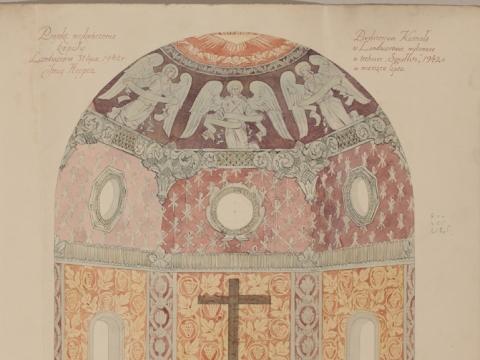 Jurgis Hopenas. Lentvario bažnyčios apsidės dekoro projektas. 1924 m.  A. Baltėno nuotrauka