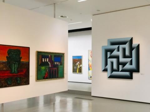 """NDG atnaujintos ekspozicijos fragmentas, """"Modernizacijos projektų"""" salė. Autorės nuotr."""
