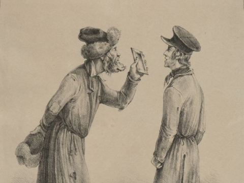 """Konstantino Kukevičiaus litografija """"Kepurių pardavėjas"""". 1839 m. LMAVB. RSS. G3. 606."""