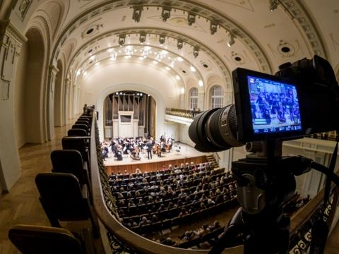 LNF skaitmeninėje salėje vyksta įrašas. 2020 m. D. Matvejevo nuotr.