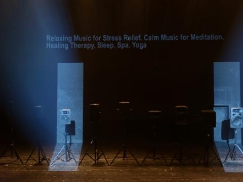"""Garso instaliacija-performansas """"Olympian Machine"""". M. Aleksos nuotr."""