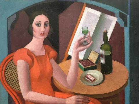 "Oto Skulme, ""Kompozicija portretui (Sievas)"". 1923 m. Iš Zuzāno kolekcijos"