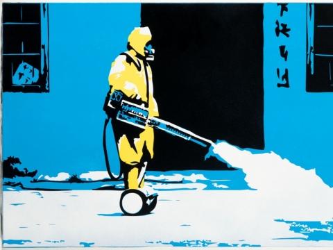 Paveikslas, vaizduojantis gatvių dezinfekciją. Aut. Laurynas Narkus. Fot. Gediminas Tre�iokas