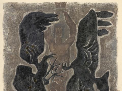"""Elena Jakutytė. """"Prometėjas"""". 1974 m. Iš Nacionalinio M.K. Čiurlionio dailės muziejaus archyvo"""