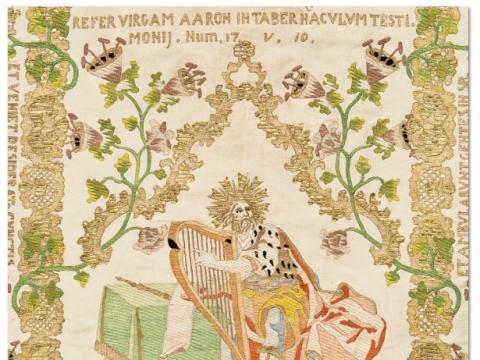 Siuvinėtos dalmatikos fragmentas, Prancūzija (?), XVIII a. vid. Vilniaus Šv. Apaštalų Petro ir Povilo bažnyčia. K. Stoškaus nuotr.