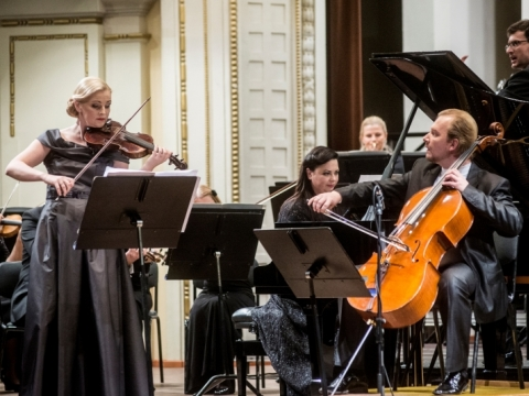 """Trio """"FortVio"""", LNSO ir Modestas Pitrėnas. D. Matvejevo nuotr."""