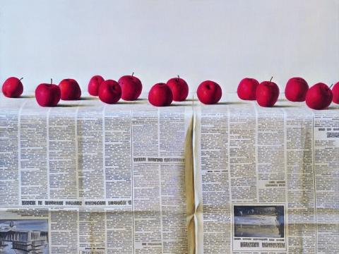 """Romanas Vilkauskas, """"Natiurmortas su obuoliais"""". 1980 m."""