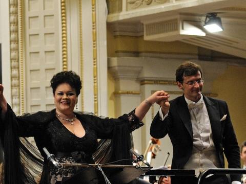 Violeta Urmana ir Modestas Pitrėnas Vilniaus festivalyje 2009 m. M. Aleksos nuotr.