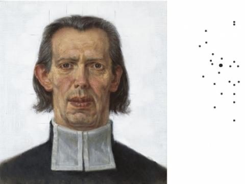 """Žygimantas Augustinas, """"Autoportretas pagal K. Donelaičio kaukolės matmenis"""" ir """"Kraniometrinis Donelaitis"""". 2014 m."""
