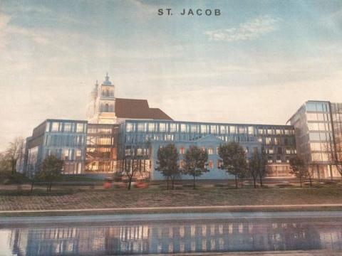 Greta Šv.Jokūbo bažnyčios planuojamo viešbučio ir biurų pastato vizualizacija, į kurią miestiečiai sureagavo piketu