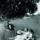 """Audrius Puipa, iš serijos """"Inscenizuoti paveikslai"""". """"Užklupti meilužiai"""" (pagal François Boucher). Pozuoja Audrius Puipa, Lilija Puipienė, Vytenis Jankūnas. 1992 m. G. Trimako nuotr."""