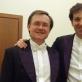 Smuikininkas Philippe'as Graffinas ir dirigentas Robertas Šervenikas. LNF archyvo nuotr.