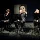 """Kęstutis Cicėnas, Mindaugas Jusčius, Kamilė Petruškevičiūtė ir Elzė Gudavičiūtė pjesės """"Šimtas metų vaikystės"""" skaityme. D. Matvejevo nuotr."""