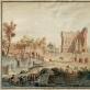 """Pranciškus Smuglevičius, """"Romos visuomenė lanko Tito termų griuvėsius"""". Apie 1775. LNDM"""