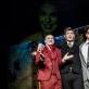 """Aleksandras Kanajevas (Lebedevas), Andrius Darela (Jepančinas) ir Arturas Svorobovičius (Ferdyščenka) spektaklyje """"Idiotas"""". L. Vansevičienės nuotr."""