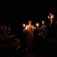 """Scena iš spektaklio """"Tarp Lenos kojų, arba """"Švenčiausiosios Mergelės Marijos mirtis"""" pagal Mikelandželą Karavadžą"""". D. Matvejevo nuotr."""